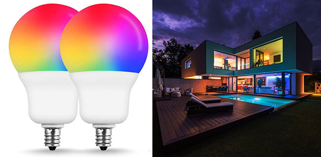 Multicolor LED light bulbs mood lighting in a house.